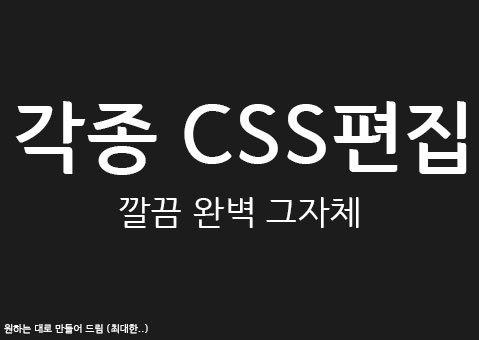 [CSS 디자인] 각종 CSS 편집 해드립니다!